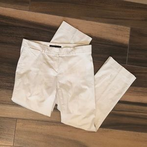 Theory Cream Cotton Ankle Crop Pant Size 6